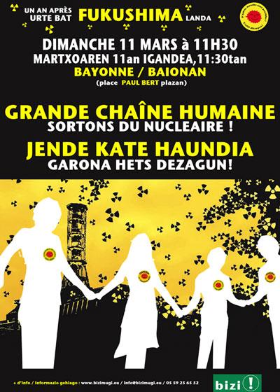 Chaine humaine le 11 mars à Bayonne