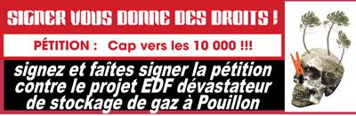 contre le stockage de gaz d'EDF à Pouillon : signez et faîtes signer la pétition